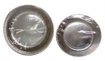Assiette carton argent 18 et 23 cm Pqt 100