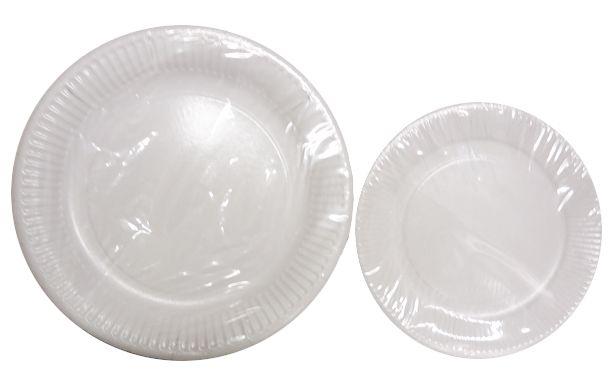 Assiette carton blanche 18 et 23 cm Pqt 100