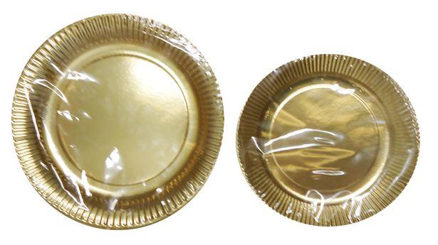 Assiette carton or 18 et 23 cm Pqt 100