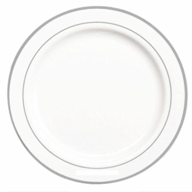 assiette plastique blanche filet argent 19 23 et 26 cm pqt 20. Black Bedroom Furniture Sets. Home Design Ideas