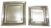 Assiette plastique carrée argent 18 et 24  cm Pqt 24
