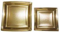 Assiette plastique carrée or 18 et 24  cm Pqt 24