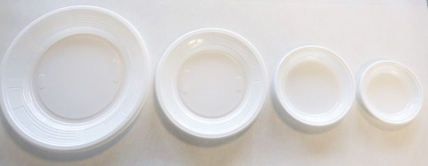Assiette plastique ronde blanche 10, 12, 17 et 22 cm p100