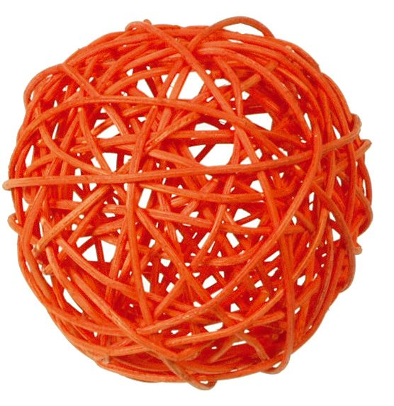 Assortiment boules rotin orange Pqt 10