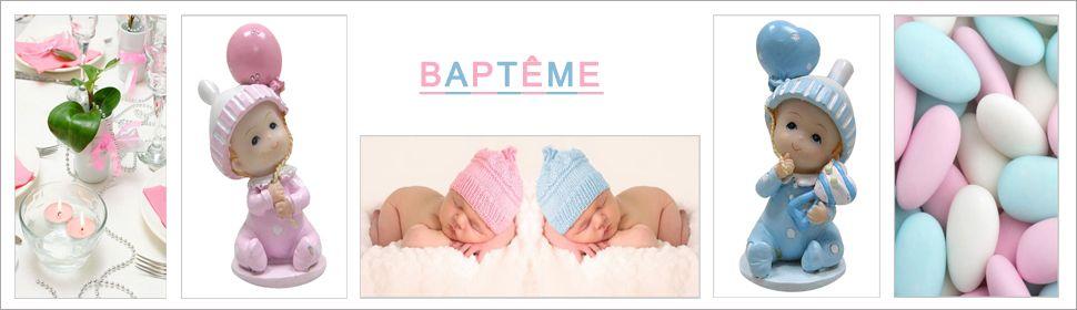 Décoration baptême, figurines bébés et dragées