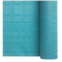Nappe papier damassé bleu turquoise 1.20/25m
