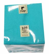 Serviette cocktail bleu turquoise 20 x 20 cm 2F Pqt 100
