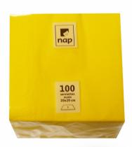 Serviette cocktail jaune citron 20 x 20 cm 2F Pqt 100