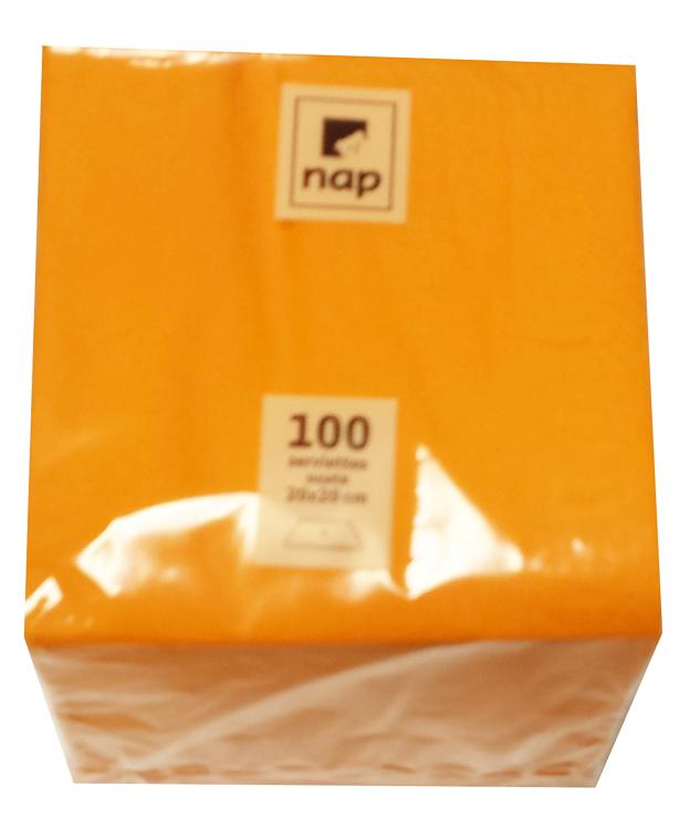 Serviette cocktail mandarine 20 x 20 cm 2F Pqt 100