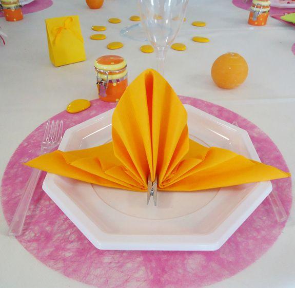 Serviette non tissée Célisoft mandarine 40 x 40 cm Paquet de 50