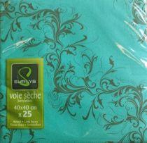 Serviette non tissée Harmony bleu turquoise 40 x 40 cm Pqt 25