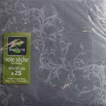 Serviette non tissée Harmony gris 40 x 40 cm Pqt 25