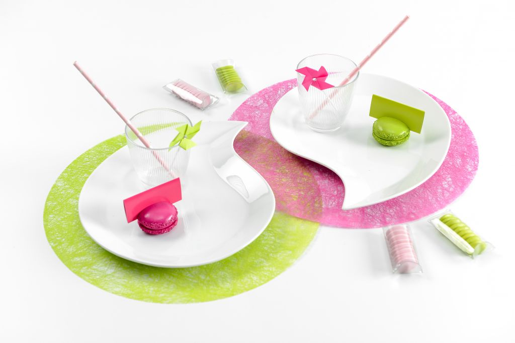 Set de table rond fuchsia 34 cm Pqt 6